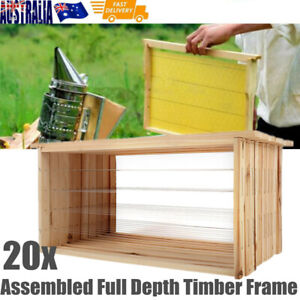 20 x Assembled Wired Timber Beekeeping Frames Bee Hive Deep Bee Frame Wood