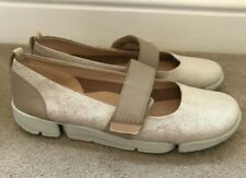 CLARKS TRIGENIC TRI CARRIE MARY JANE LEATHER FLATS, UK 6.5 D Nude Pink