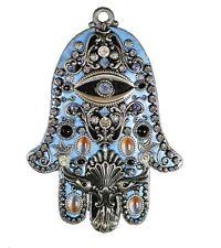 Michal Golan Blue Wall Hamsa with Black Onyx and Swarovski Crystals GL65
