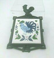 Rooster Trivet Cast Iron Finial Ceramic Tile Vintage 70s Green Made in Japan