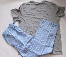 Tommy Hilfiger Sleep Set Short Sleeve Crew GRAY Top & Poplin Pant BLUE L(36-38)