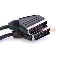 Cavo 2m SCART maschio 21pin audio video av tv decoder digitale terrestre dvd vhs