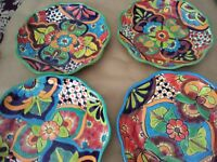 Set of 2 Mexican Talavera Platter /Dish 12x2 Plates Floral Folk Art from Mexico