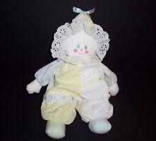 "VTG Eden Pastel Blue Yellow Clown Plush Eyelet Stuffed Animal Lovey Toy 14"""