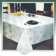 "Classic Table Cloth Beige Polyester Satin Jacquard 152 x 228 cm / 60"" x 90"""