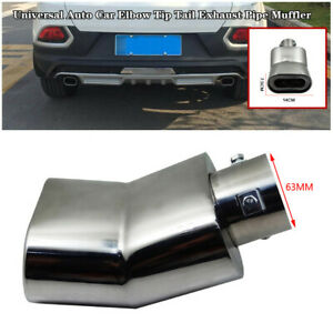 63MM Stainless Steel Universal SUV Car Elbow Tip Tail Exhaust Pipe Muffler Trim