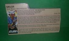 Original Vintage Cobra GI Joe 1985 Shipwreck V.1 Peach File Card