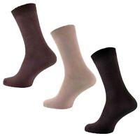 3 Pairs Mens Plain Stay-Up Chocolate Mocha Beige 100% Cotton Socks, UK Size 6-11