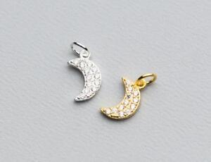 925 Sterling Silver DIY CZ Moon Bracelet Dangle Single Charm Pendant A2386