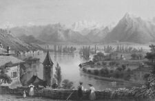 SWITZERLAND. Thun, from the Cemetery. BARTLETT 1836 old antique print picture