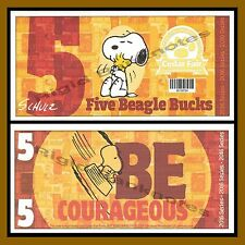 "Cedar Fair 5 Beagle Bucks, 2016 ""Peanuts Snoopy"" Like Disney Dollar"