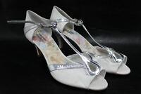 RACHEL SIMPSON Ladies White & Silver Floral Strappy Heels Shoes EU42 UK9 NEW
