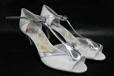RACHEL SIMPSON Ladies White & Silver Floral Strappy Heels Shoes EU42 UK9 NEW
