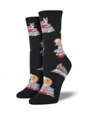 "Socksmith ""CATS ON BOOKS"" Womens' Fun Novelty Crew Socks - Black - New"