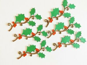 Holly Leaf Branches Christmas Papercraft Embellishments Scrapbooking Card Crafts