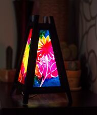 Asian/Thai Wood/Paper Bedside Table Lamp: 'Hippy Flower' ink blotch + LED bulb