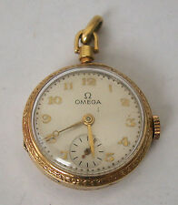 A CUTE ANTIQUE SMALL LADIES 14K GOLD OPEN FACE OMEGA POCKET WATCH