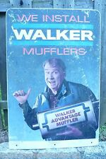 WALKER MUFFLERS JOHN MADDEN Sign vintage double sided gas station repair shop ad