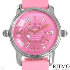 RITMO MVNDO Dual Time Watch, Model 121, Pink Rubber and Stainless Steel Strap