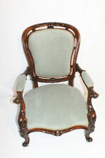 English Victorian Walnut Arm Chair newly Recovered Circa 19th
