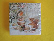 20 Servietten Winter  Eichhörnchen Rotkehlchen Robin Vogel Tiere 1 Packung OVP