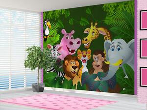 Cartoon Jungle Animals Wallpaper wall mural kids bedroom (14320788) Cartoon Lion