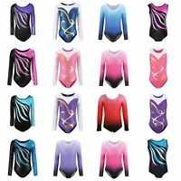 Kids Girl Long Sleeve Ballet Dance Leotards Gymnastics Fitness Costume 4-10Y