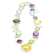 14K White Gold Statement Size Multi Colored Gemstone Necklace 36 Inches