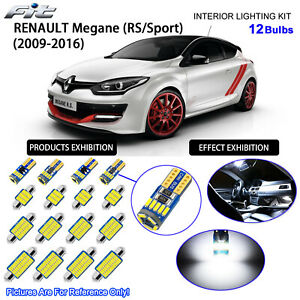 12 Bulbs LED Interior Light Kit Xenon Cool White For RENAULT Megane III RS/Sport