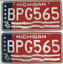 MICHIGAN 76 matching pair licence/number plate US/United States/USA/American