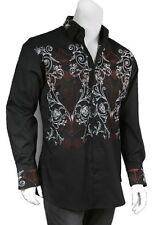 Men's Cotton Casual Embroidered Western Shirt #37 Black & White
