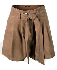 70s Style Vintage Women's Suedette Spring Fashion Belted Shorts UK 10