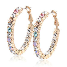 Womens Rainbow crystal Round Earings unique Hoop earrings Yellow gold filled