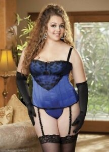 NEW Fredericks of Hollywood Plus Size Satin Lace Rose Corset 1X