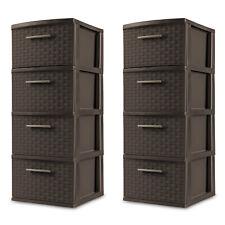 4 Drawer Weave Tower, Storage Cabinet, Espresso, Case Of 2