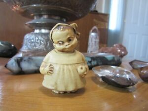 Creepy, little celluloid baby doll toy, figurine