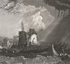 1850 Gravure originale Saint-Malo port tempête pêcheurs moulins Bretagne