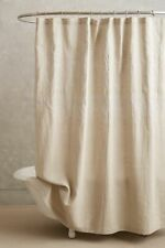 New Anthropologie Embroidered Linen Shower Curtain