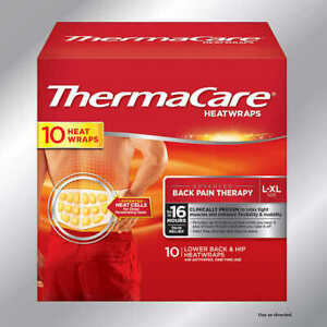 ThermaCare  10 Heat Wraps  Lower Back & Hip L/XL  8 hours of continuous heat