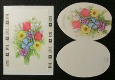 "EASTER Flower Bouquet & Blue Butterfly 6x8"" Greeting Card Art #2601 w/ 4 Cards"