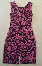 Disney Kid's Black and Pink Floral Sleeveless Dancewear Gymnastic Leotard Size M