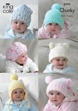 King Cole Chunky Knitting Pattern 3391 Babies Hats