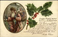 Christmas - Old World Santa Claus Long Light Red Coat c1905 Postcard