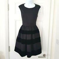 OLIVER BONAS Poem Black Velvet Stripe FIT & FLARE Dress UK 12 Christmas Party