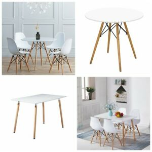 White Dining Table and 4 Chairs Set Rectangle Round Wood Office Kitchen Desk New