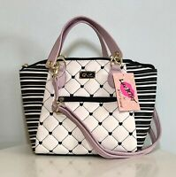 Betsey Johnson Dome Satchel Crossbody Bag Quilted Black White Hearts Purse NWT