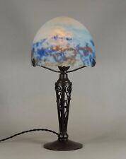 Hettier Vincent & Daum Lorrain : French Art Deco Lamp . wrought iron 1925 1930
