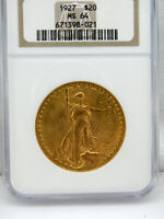 1927 $20 Saint-Gaudens Gold Double Eagle Coin MS-64 by NGC