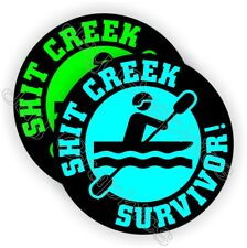 Funny Hard Hat Stickers | Sh*t Creek Survivor | Motorcycle Helmet Decal Survival