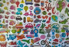 Childrens kids stickers- 8 sheets Fun, bright n puffy 4 TREATS PARTIES REWARDS